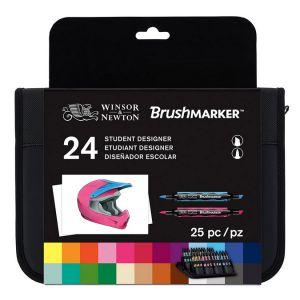 Winsor & Newton Feutre pinceau à alcool BrushMarker Trousse 24 couleurs Étudiant Designer