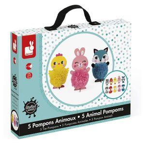 Janod Kit créatif : Pompons animaux tout mignons
