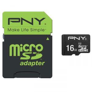 PNY SD16GBPERF50 - Carte mémoire MicroSDHC 16 Go + SD adapteur