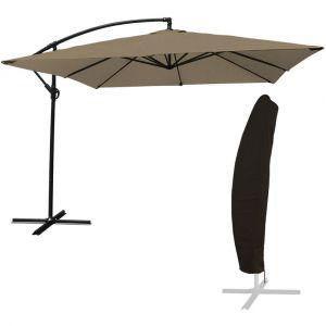 Happy Garden Pack parasol déporté carré 2,7x2,7m Taupe + housse