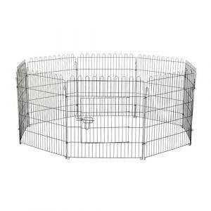 Pawhut Parc enclos pour chiens chiots animaux domestiques diamètre 158 cm 8 panneaux 71L x 91H cm noir