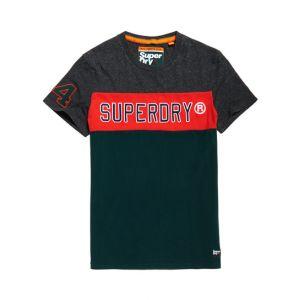 Superdry T-shirt à manches courtes, logo appliqué et blocs de couleurs - Couleur Gris - Taille XXL
