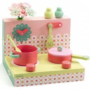 Djeco 06614 - Les boîtes en bois : Cuisinière pastel