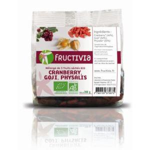 Fructivia Mélange de 3 fruits séchés Bio : Cranberry, Goji et Physalis (200g)