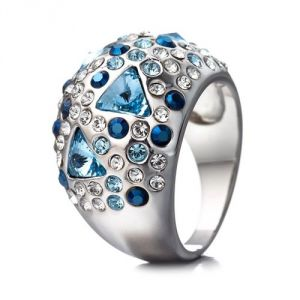 Blue Pearls Cry H406 C - Bague en Cristal Swarovski Elements Bleu et plaqué rhodium