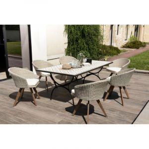 Ensemble table carreaux ciment Tanger + 6 fauteuils Honolulu