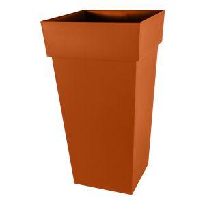 Eda Plastiques Pot de fleur carré Toscane 43 x H.80 cm Potiron - Eda
