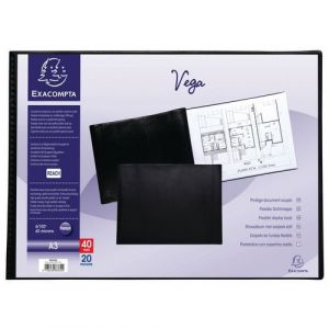 Exacompta Lot de 5 protège-documents PVC - 40 vues - vega opaque - A3 - Noir - 88330E