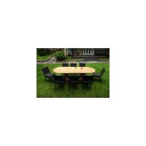 Wood-en-stock Table de jardin en teck naturel et poly rotin avec 8 chaises  - Comparer avec Touslesprix.com