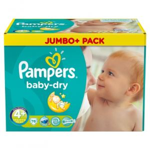 Pampers Baby Dry taille 4+ Maxi Plus (9-20 kg) - Jumbo Plus Pack 76 couches