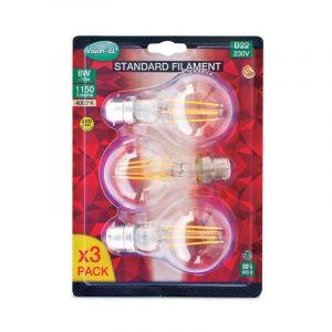 Vision-El LOT de 3 ampoules 8W LED FILAMENT (éq 70W) Culot B22 - 4000°K - 1150 lumens -