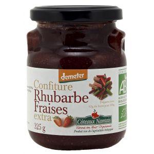 Côteaux nantais Confiture rhubarbe fraises extra Bio et Demeter 325g