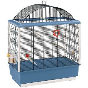 Ferplast Cage pour canaris et autres petits oiseaux exotiques PALLADIO 4, Design élégant avec toit panoramique, accessoires et mangeoires tournantes, métal robuste Noir peint cadre Bleu et bac en plastique, 59 x 33 x h 69 cm