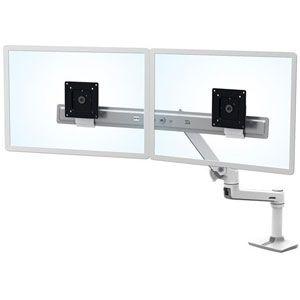 Ergotron LX Desk Dual Direct Arm - Kit de montage (poignée, bras articulé, fixation par pince pour bureau, 2 pivots, matériel de fixation, charnière, port d'extension) pour 2 écrans LCD - blanc - Taille d'écran : jusqu'à 32 pouces - ordinateur de bureau
