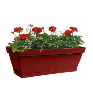 Image de Poetic Jardinière Roméo rouge avec soucoupe et support L49x l28xH19 cm