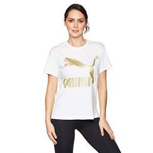 Puma T-shirts Classics Logo White / Gold - XS