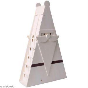 Artémio Calendrier de l'avent en bois à décorer - Père Noël triangulaire - 30 x 50,5 x 11,5 cm