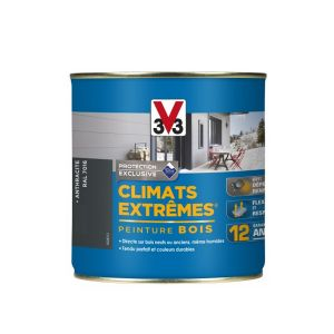 V33 Climats Extrêmes Satin Anthracite 500 Ml   Peinture Extérieure Bois