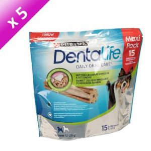 Purina Dentalife Medium - (Lot de 5) 15 bâtonnets pour chien adulte de 12 à 25 kg