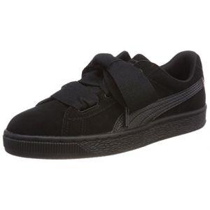 Image de Puma Suede Heart SNK Jr, Sneakers Basses Fille, Noir Black Black, 39 EU