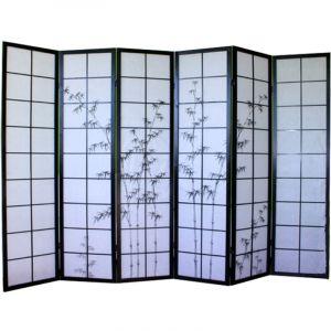 Pegane Paravent bois noir avec dessin bambou noir - 6 pans -