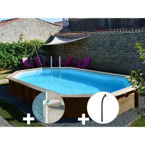 Sunbay Kit piscine bois Safran 6,37 x 4,12 x 1,33 m + Alarme + Douche