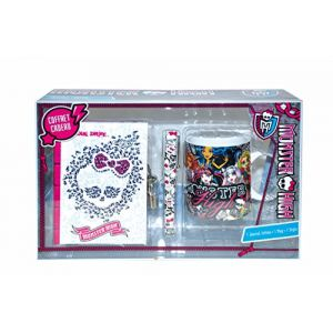 Mon0526 - Coffret cadeau journal intime + stylo + mug Monster high