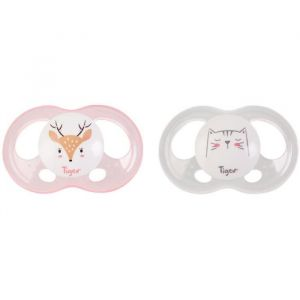 Tigex 2 Sucettes Soft Touch Silicone Taille 6-18 m Biche Chat Fille