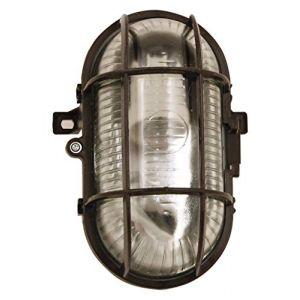 Velamp TURTLE: hublot ovale en verre et plastique. E27 max 60W - Noir