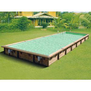 Ubbink Linéa - Piscine rectangulaire hors sol en bois 1100 x 500 x 140 cm