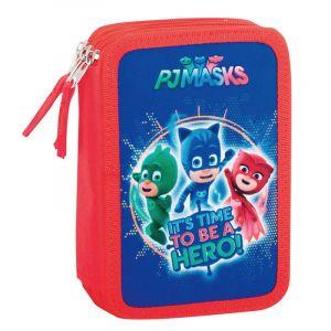 Trousse scolaire triple avec fournitures To be a hero Les Pyjamasques