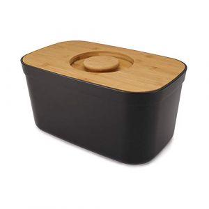 Joseph joseph Boîte à pain acier noir couvercle bambou 35,5 cm