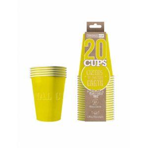 20 Gobelets américains carton recyclable jaunes 53 cl
