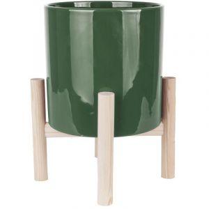 Present time Cache-pot sur pieds Trestle - Diam. 20 cm - Vert