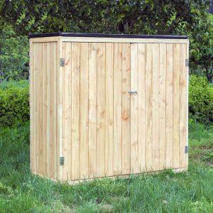 wiltec Armoire de jardin en bois peint naturel 2 portes 136x58x127cm armoire à outils