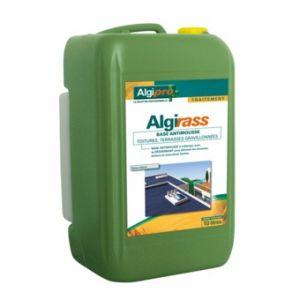 Algimouss Antimousse Algirass base antimousse pour toitures, terrasses gravillonnées en bidon de 10L + 1L