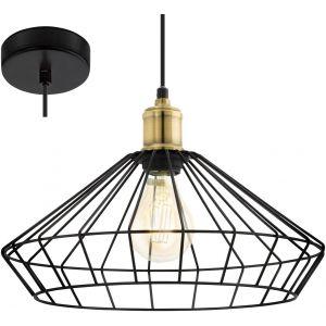 Eglo Lampe suspendue DENHAM Noir et marron 49788