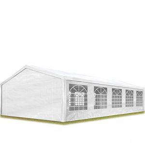 Intent24 Tente de réception 5x10 m pavillon blanc bâche PE épaisse de 180 g/m² imperméable tente de jardin.FR