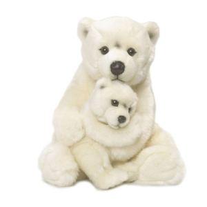 WWF Peluche Maman Ours polaire avec bébé 28 cm