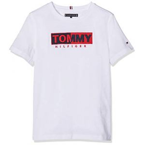 Tommy Hilfiger Essential Graphic Embr Tee S/s T- T-Shirt Blanc (Bright White 123), 176 (Taille Fabricant: 16) Garçon