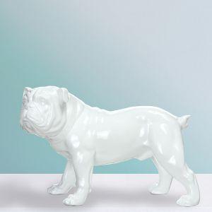 "Statuette Déco ""Bulldog"" 40cm Blanc Prix"