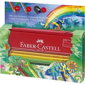Faber-Castell Crayon de couleur aquarellable Colour Grip + Trousse - Set Jungle