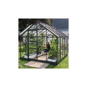 Lams Serre en verre trempé Carvi - 8.25 m², Couleur Anthracite Longueur : 3,21 m, Largeur : 2,57 m