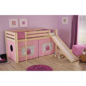 Vipack Furniture Lit Pino Château pour fille avec toboggan 90 x 200 cm