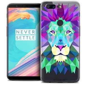 CaseInk Coque Gel OnePlus 5T (6 ) Extra Fine Polygon Animals - Lion