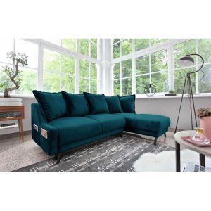 Bobochic NEW ENGLAND - Canapé angle droit Convertible avec coffre bleu canard