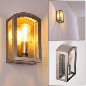 Hofstein Applique murale Chipola en métal et verre, élégante lampe rétro idéale pour une entrée ou une terrasse vintage, IP44, pour 1 ampoule E27 max. 60 Watt