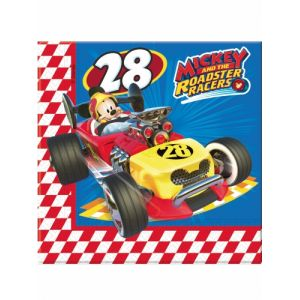 20 serviettes en papier Mickey & Donald Racing (33 cm)