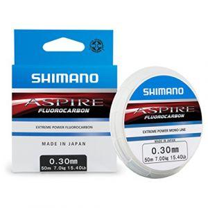 Shimano Aspire Fluorocarbon Fil de pêche longueur 50 m, transparent, 0,30 mm