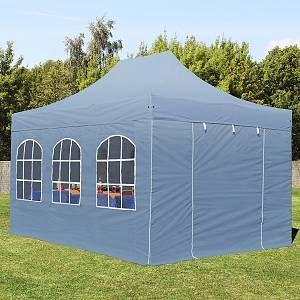 Intent24 Tente pliante / pliable PREMIUM 3x4,5 m avec fenêtres en Polyester de qualité gris fonce.FR